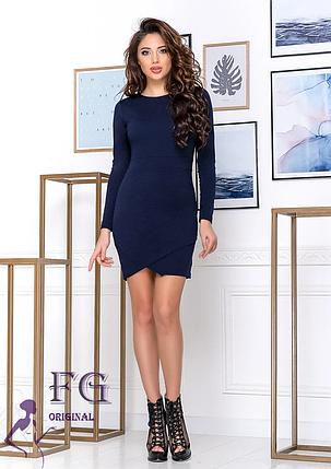Короткое платье на вечер по фигуре длинный рукав круглый вырез темно-синее, фото 2