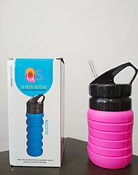 Бутылка силиконовая гармошка с поилкой QS Water Bottle Silicon розовая