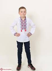 Детская вышиванка Легенда длинный рукав,ткань сорочечная, р,116,122,128,134,140,152, біла з черв виш