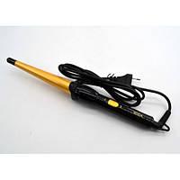 Плойка ROZIA HR-713 для укладки локонов завивки волос конусная Original три температурных режима Чёрно-жёлтая
