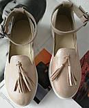 Elle шик! Удобные цвета пудра кожа женские весенние туфли на средней платформе стильные и красивые!, фото 3