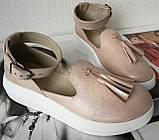Elle шик! Удобные цвета пудра кожа женские весенние туфли на средней платформе стильные и красивые!, фото 2