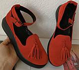 Elle шик! Удобные цвета пудра кожа женские весенние туфли на средней платформе стильные и красивые!, фото 8