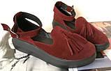 Elle шик! Удобные цвета пудра кожа женские весенние туфли на средней платформе стильные и красивые!, фото 9
