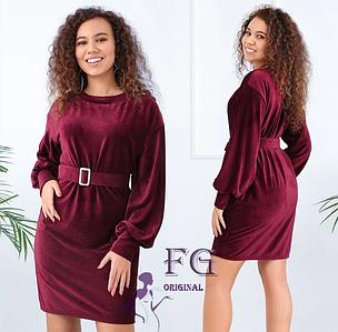 Прямое платье выше колен из вельвета с поясом в тон марсала