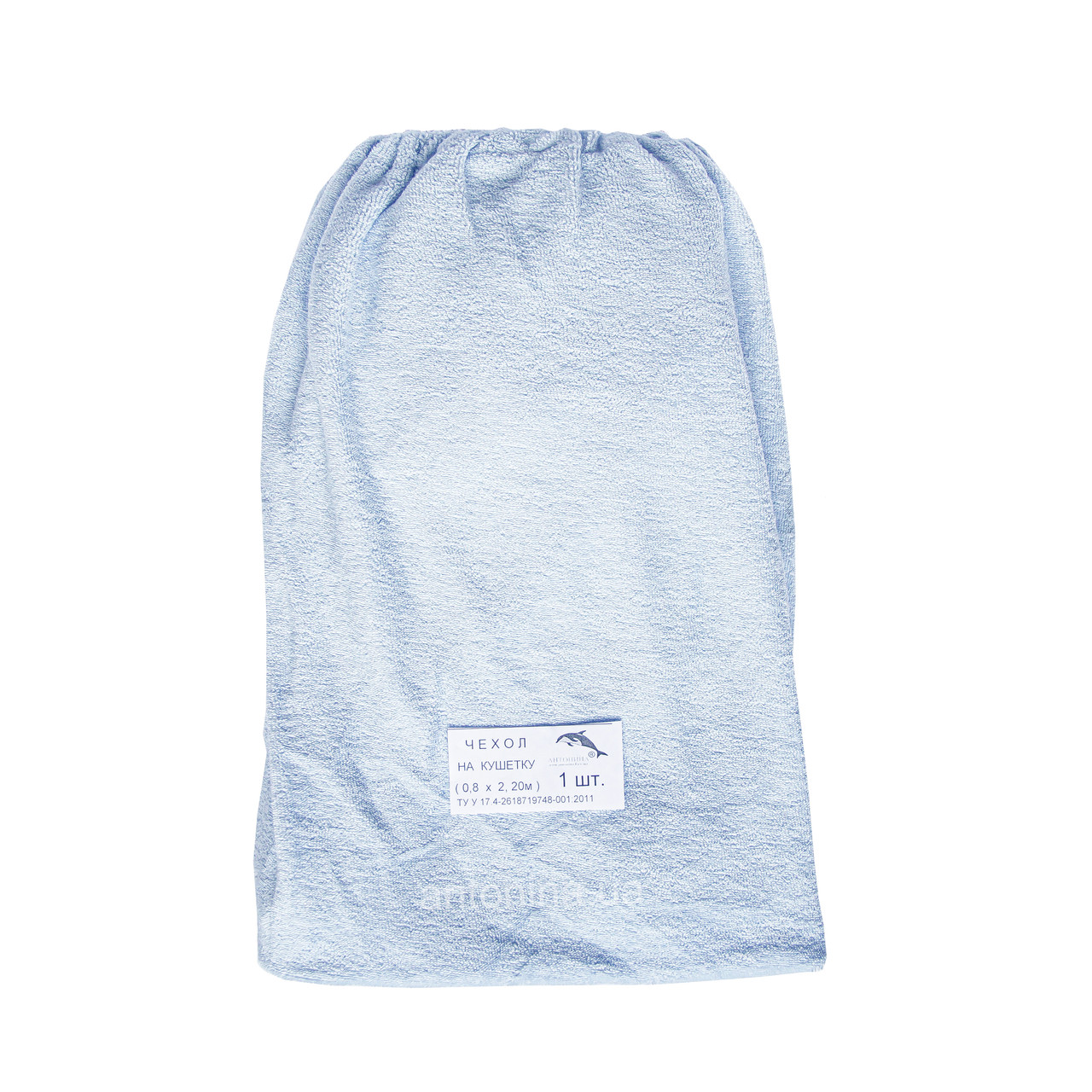 Махровий чохол блакитний х/б на кушетку 0,8 х 2,2 м (гумка)