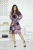 Нарядное шифоновое платье на трикотажной подкладке арт 4120