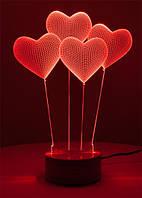 3D настольная лампа светильник ночник в форме шары сердце