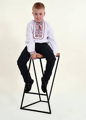 Детская вышиванка Младший капрал ,ткань сорочечная, р 110,116,122,128,134,140,146,152, белая с красн