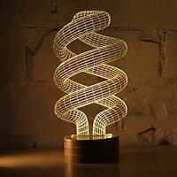 3D настольная лампа светильник ночник в форме лампочки экономка спираль