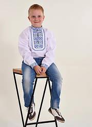 Детская вышиванка Младший капрал плюс,ткань сорочечная, р 110,116,122,128,134,140,152, белая с синим