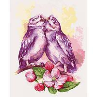 """Картина по номерам. Животные, птицы """"Милые совушки"""" 40х50см (Бесплатная доставка Justin)"""