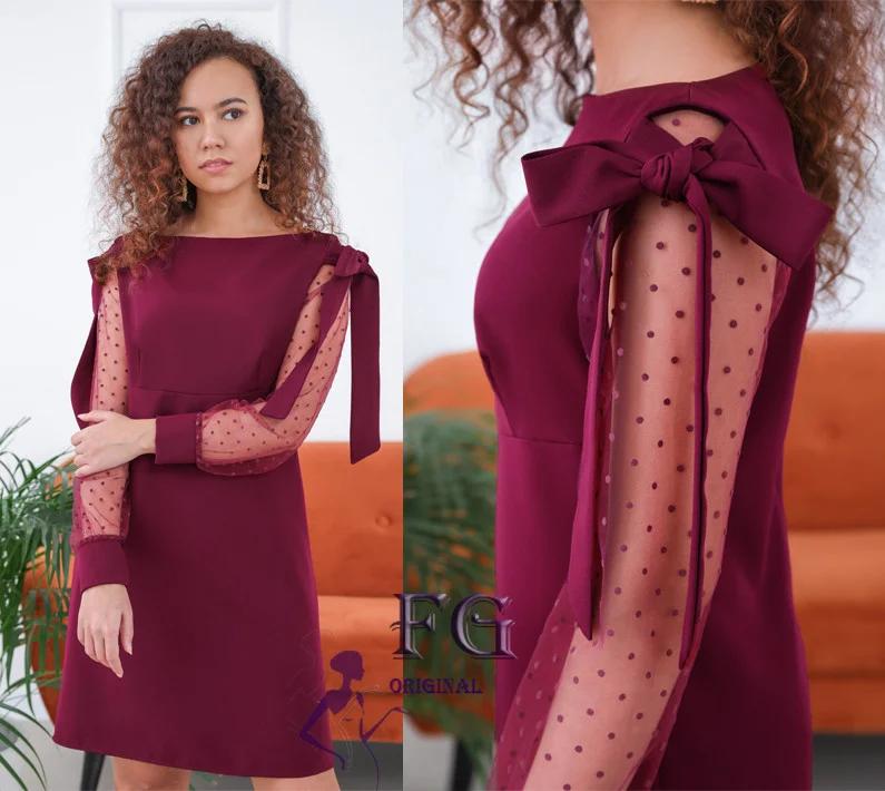 Стильное платье на вечер выше колен с бантами на плечах марсала