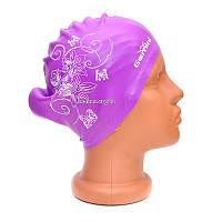 Шапочка для плавания Gemini женская фиолетовая (для длинных волос)
