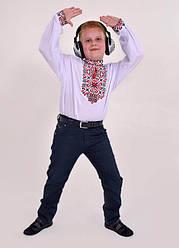Детская вышиванка Подполковник  ,ткань сорочечная,р 110,116,122,128,134,140,146,152, белая. дитяча вишиванка