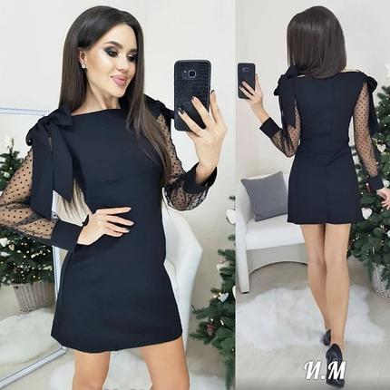 Прямое черное платье мини с бантами на плечах, фото 2