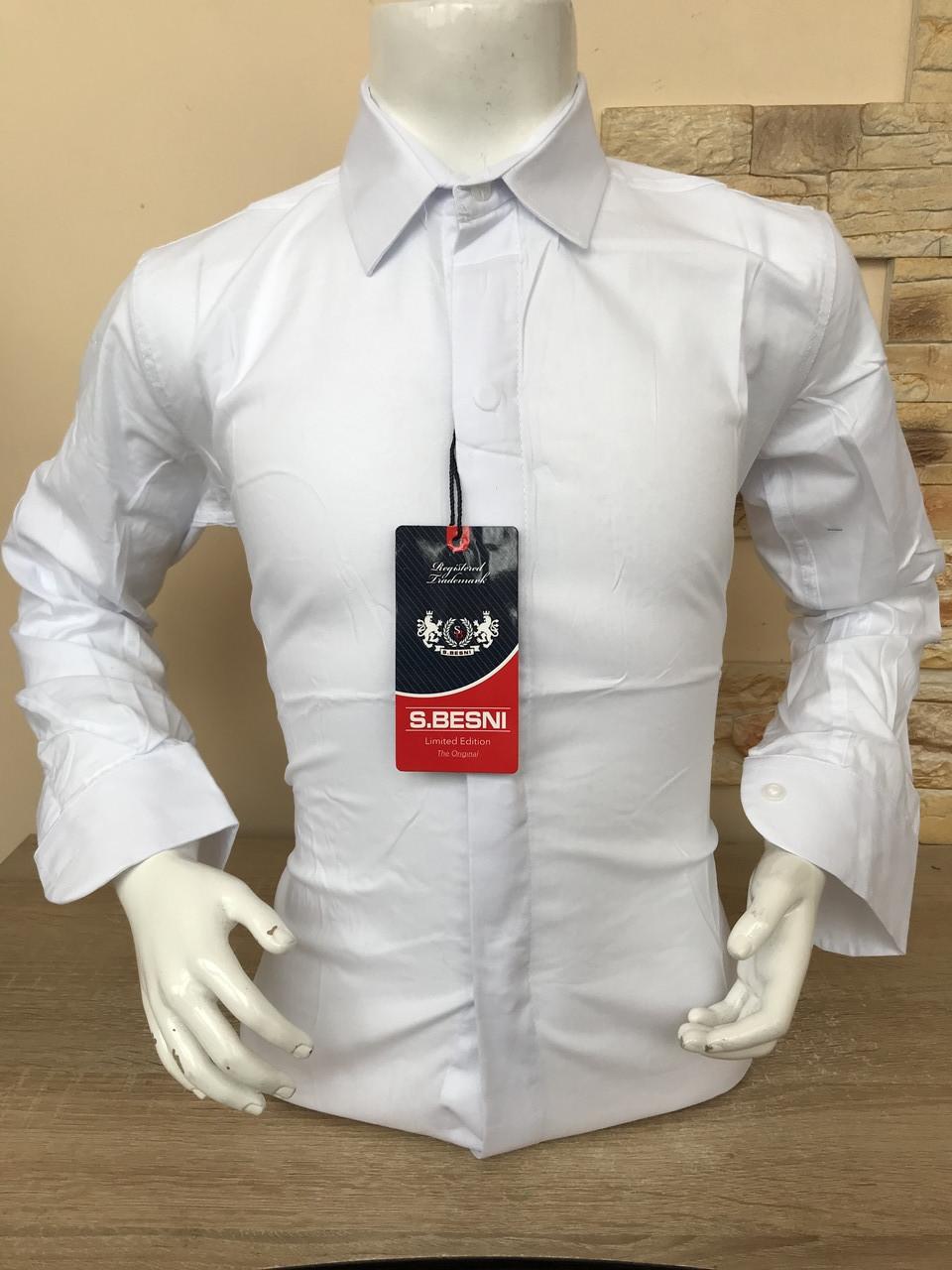Детская стрейчевая белая  рубашка Sinyor Besni 7-12