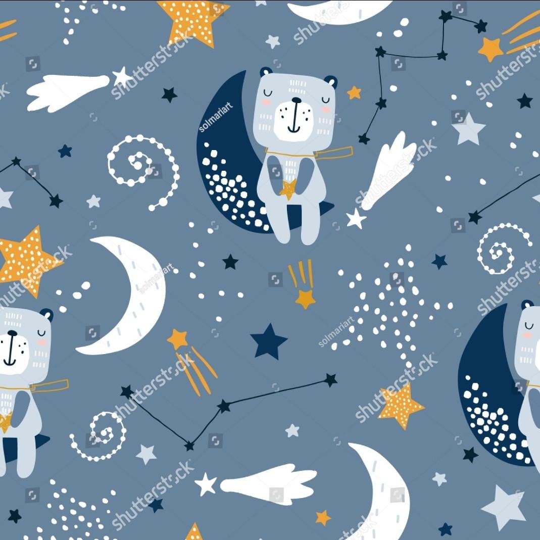 "Плащевая ткань дюспо ""Медвеженок на луне"" - ширина 150 см."