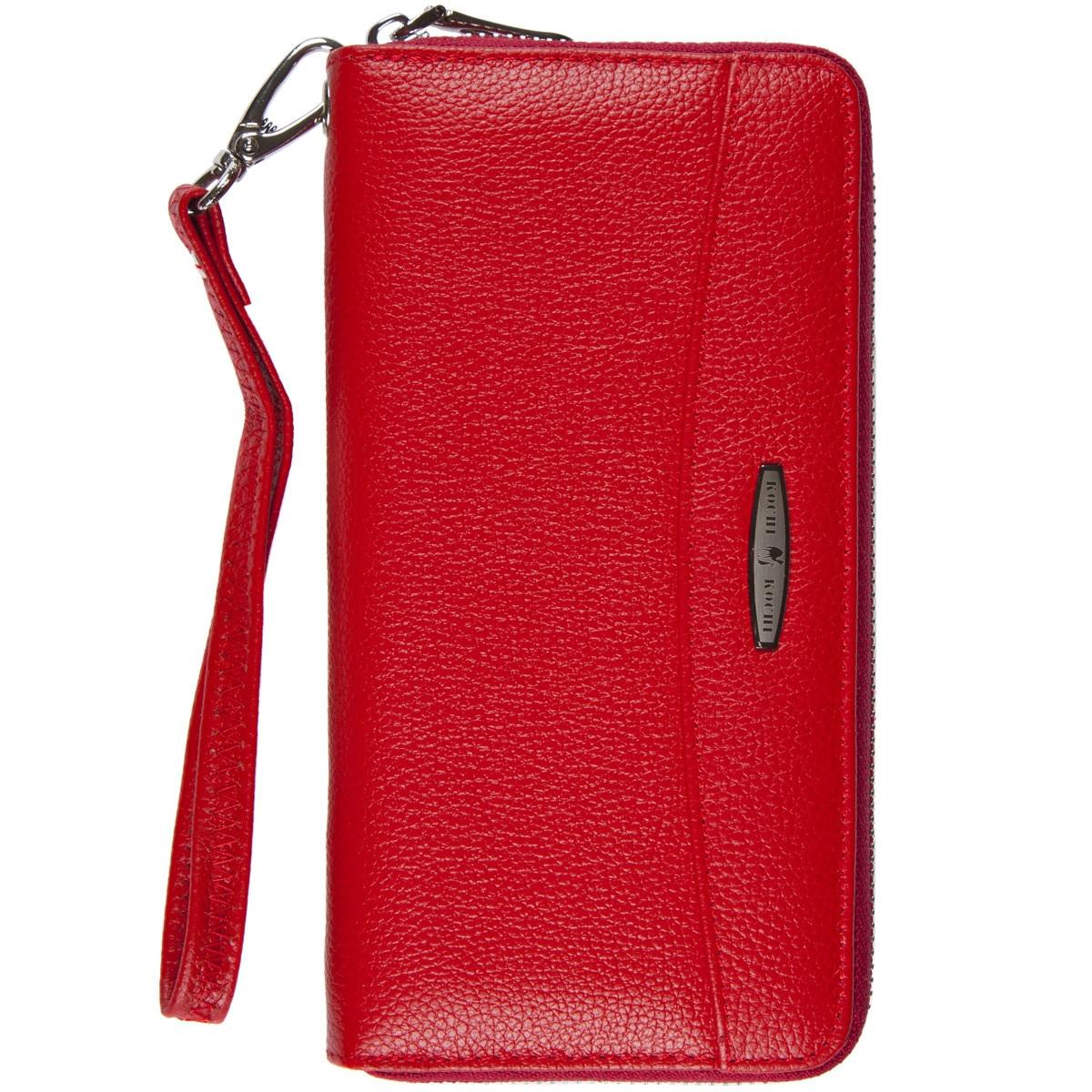 Кожаный женский кошелёк-клатч KOCHI  с ремешком на руку 195х100х22 красный  м К9026-3Н09кр