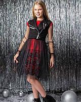 Платье тройка с оригинальным дизайном и замшевой жилетки