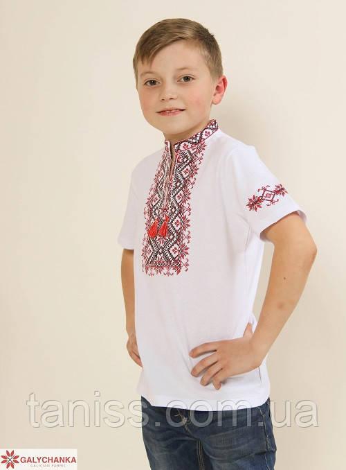 Дитяча вишиванка Зорянчик ,тканина лакоста,р 104,110,122 біла з черв. дитяча вишиванка