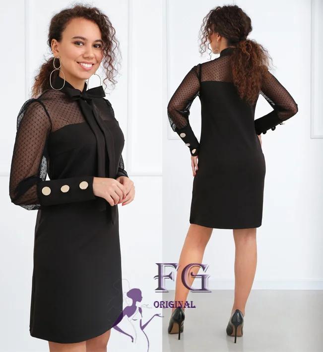 Черное прямое платье на вечер миди с сеткой и бантом на шее