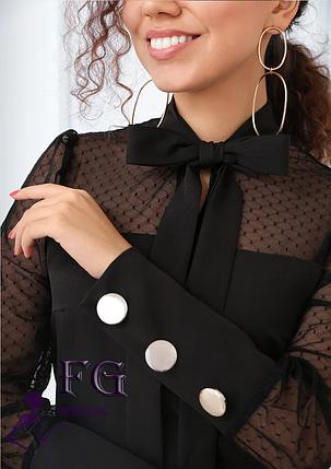Черное прямое платье на вечер миди с сеткой и бантом на шее, фото 2
