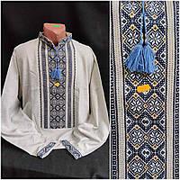 Рубашка із вишивкою на сірому домотканому полотні, чоловіча, 46-60 р-ри, 850/750 (ціна за1шт.+100гр)