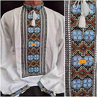 Рубаха вишита на домотканці  чоловіча, в українському стилі, 46-60 р-ри, 850/750 (ціна за1шт.+100гр)