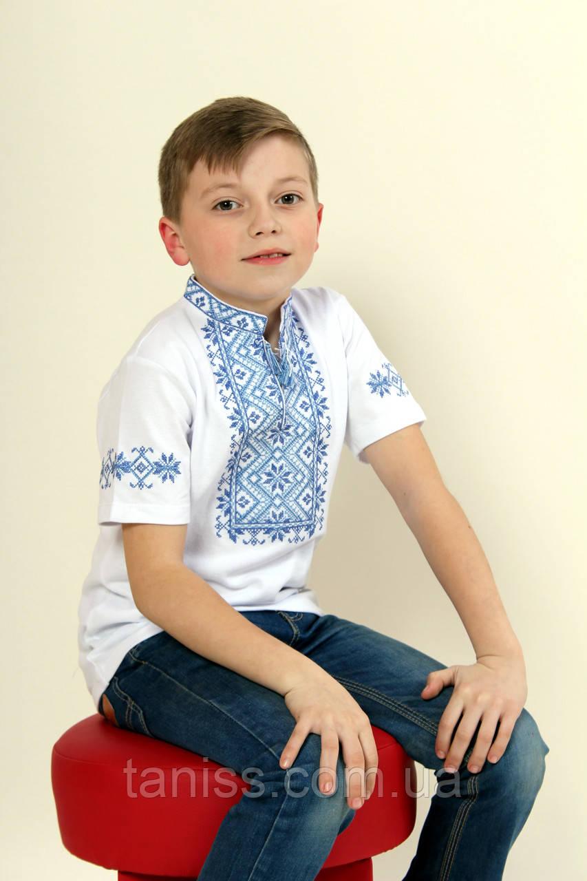 Детская вышиванка Зорянчик  ,ткань лакоста,р  104,110,116,122,128,134,140,146,152 белая с син