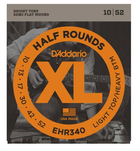 Струны для электрогитары D`ADDARIO EHR340 XL HALF ROUNDS LIGHT TOP/ HEAVY BOTTOM 10-52