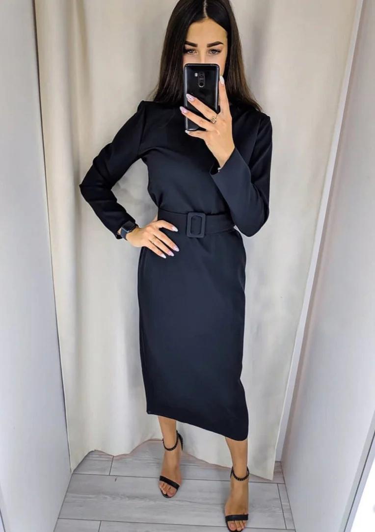 Однотонное платье миди с поясом в тон длинный рукав черное