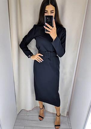 Однотонное платье миди с поясом в тон длинный рукав черное, фото 2