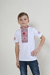 Детская вышиванка Иванко  ,ткань лакоста,р  104,110,116,122,128,134,140,146,152, белая. дитяча вишиванка
