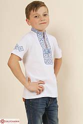 Детская вышиванка Иванко  ,ткань лакоста,р  104,110,116,122,128,134,140,146,152, белая з синім