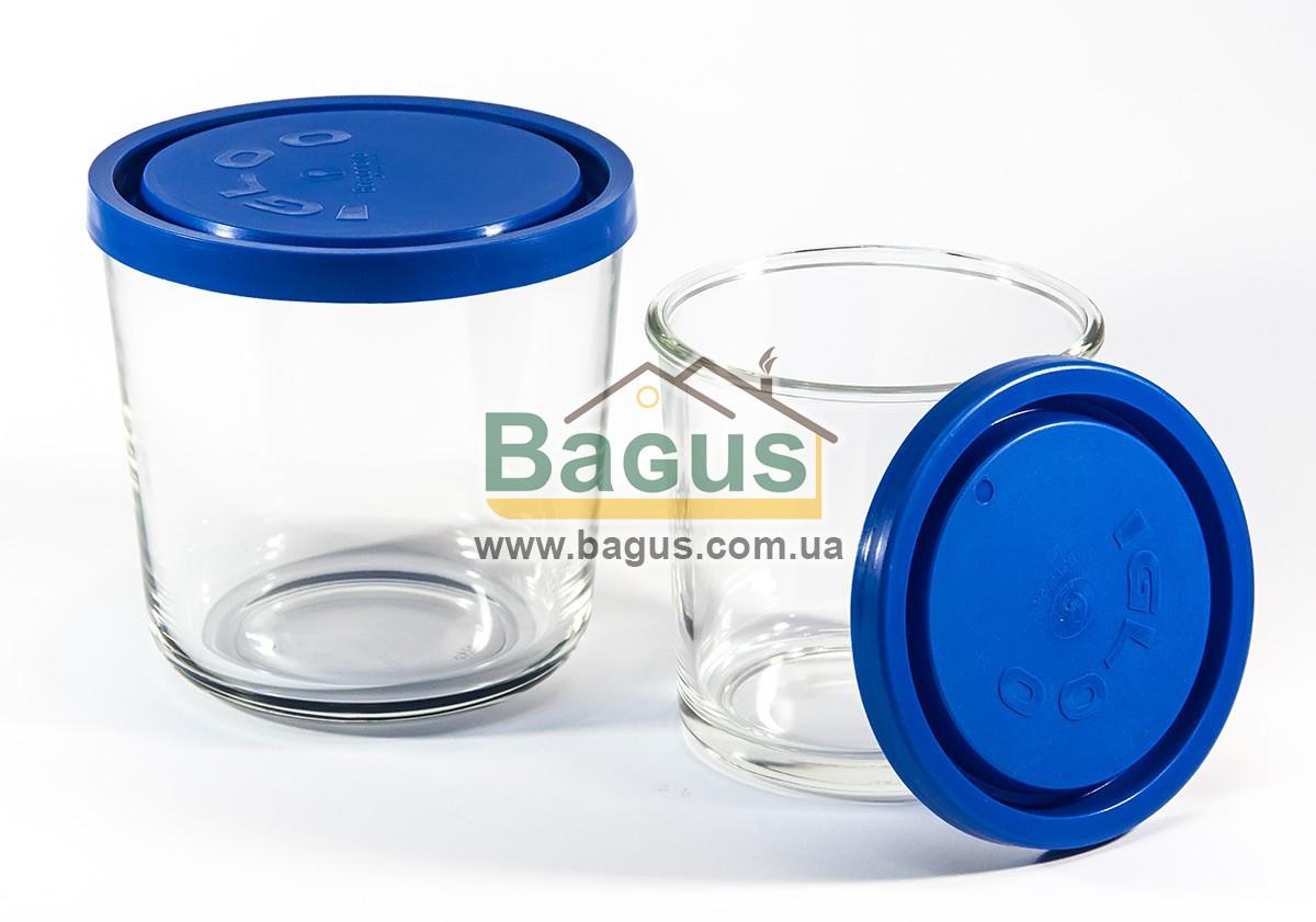 """Набір ємностей (судків, склянок) 2шт. (0,4;0,7 л) круглих скляних з кришками """"Igloo"""" Borgonovo 14064000"""