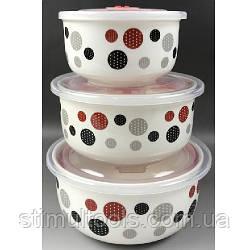 Набор фарфоровых салатников Stenson с вакуумными крышками 3 шт