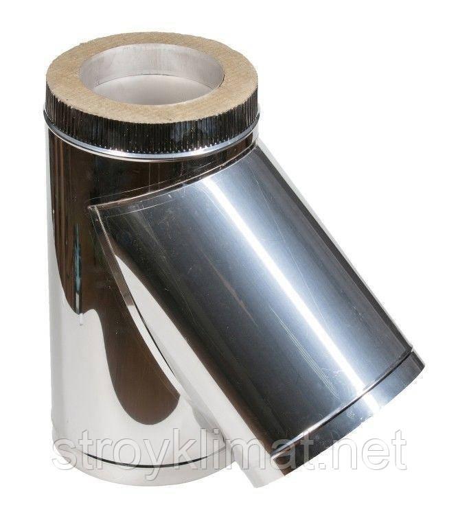 Тройник 45* ф130/200 н/оц 0,8 мм
