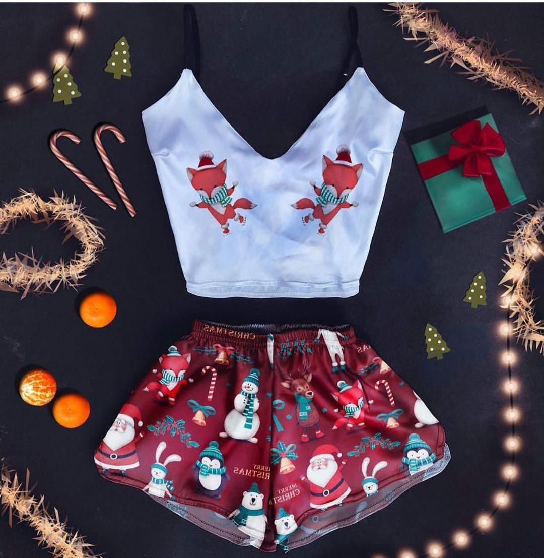"""Шелковая пижама с принтом """"Лисята зима"""""""