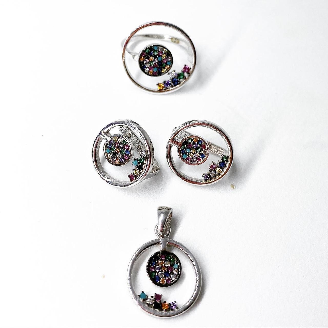Набор украшений Beauty Bar из серебра 925 серьги кольцо и кулон - цветные камни