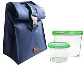 Lunch bag для обеда с судочками Organize LBag-Blue синий SKL34-176144