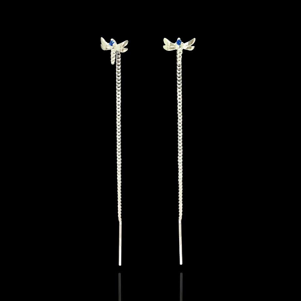Срібні сережки-протяжки Бабка