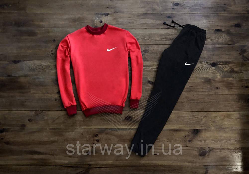 Cпортивный костюм Nike белая галочка | красный свитшот черные штаны