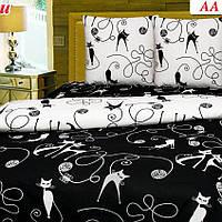 Комплект постельного белья с кошечками. Черно белый. 100% хлопок. Полуторка, двухспалка, евро, евро макси.