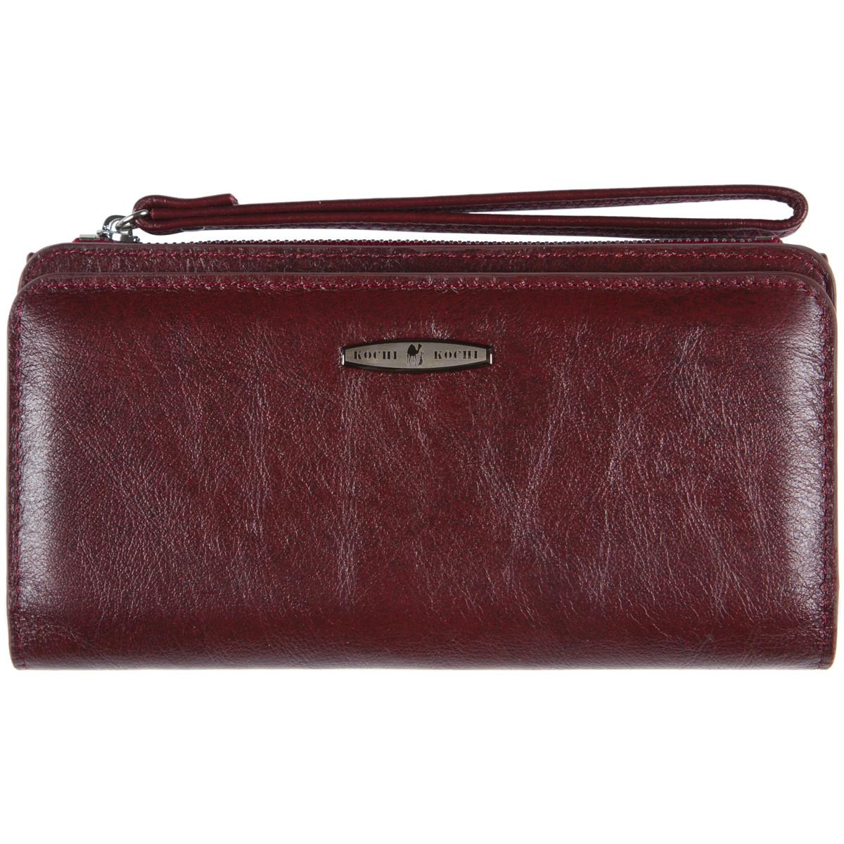 Кожаная женская барсетка-кошелёк KOCHI  с ремешком на руку 190х97х20 цвет темная вишня м К6838-Н09виш