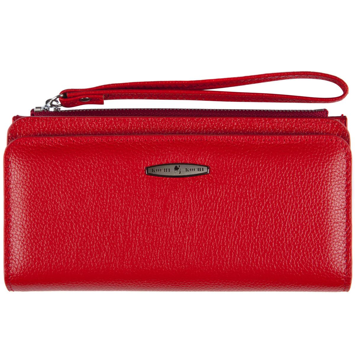 Кожаная красная женская барсетка-кошелёк KOCHI  с ремешком на руку 190х97х20  м К6838-Н09кр