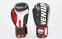 Перчатки для бокса и единоборств Venum кожаные 6749 Black-White 14 унций