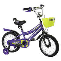 Велосипед Corso двухколесный с дополнительными колесами и корзинкой SKL11-179233