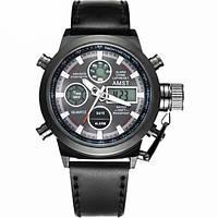Мужские наручные армейские часы AMST Watch | кварцевые противоударные часы черные! Акция
