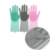 Силиконовые перчатки для уборки и мытья посуды Magic Silicone Gloves! Акция